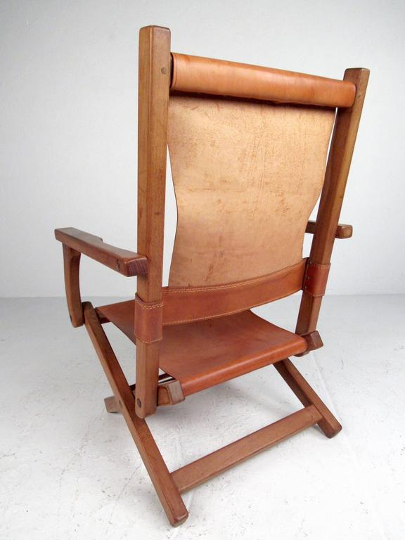 Contemporary Modern Folding Leather Armchair For Sale 1