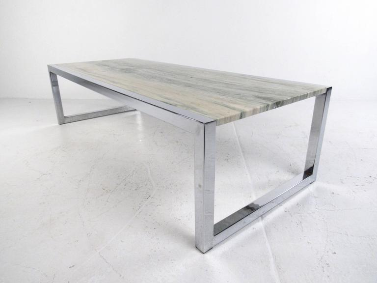 Mid Century Modern Marble And Chrome Coffee Table In The Style Of