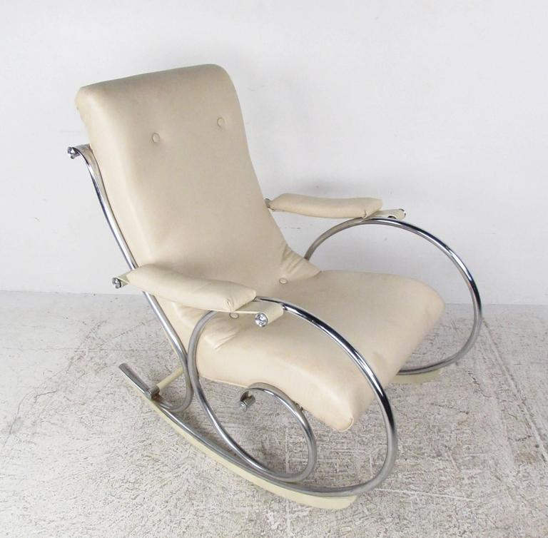 mid century modern thonet style chrome frame rocking chair for sale