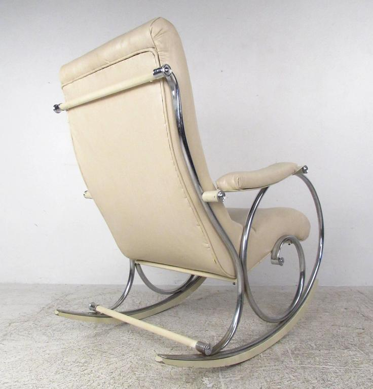 American Mid-Century Modern Thonet Style Chrome Frame Rocking Chair For Sale