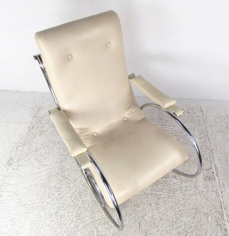 Mid-Century Modern Thonet Style Chrome Frame Rocking Chair For Sale 1
