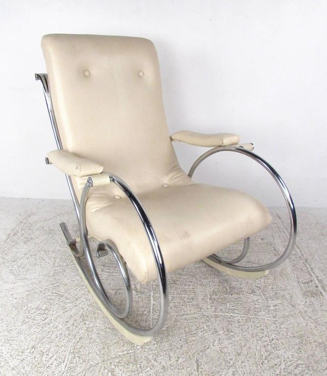 Mid-20th Century Mid-Century Modern Thonet Style Chrome Frame Rocking Chair For Sale