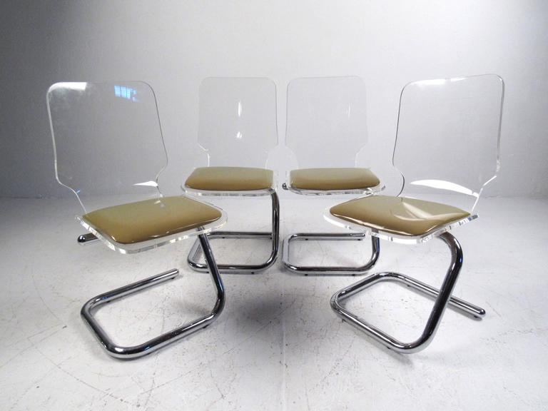 Mid Century Modern Lucite And Chrome Dining Chairs By Luigi Bardini For Sale At 1stdibs