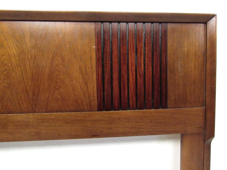 American Mid-Century Modern Rosewood and Walnut Queen-Size Bed Headboard