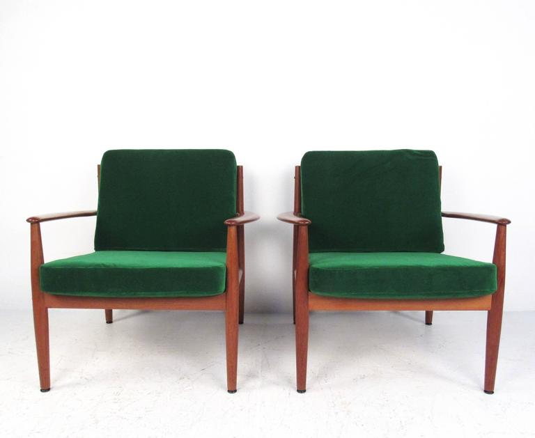 Danish Pair Scandinavian Modern Teak Armchairs by Grete Jalk for France and Son For Sale