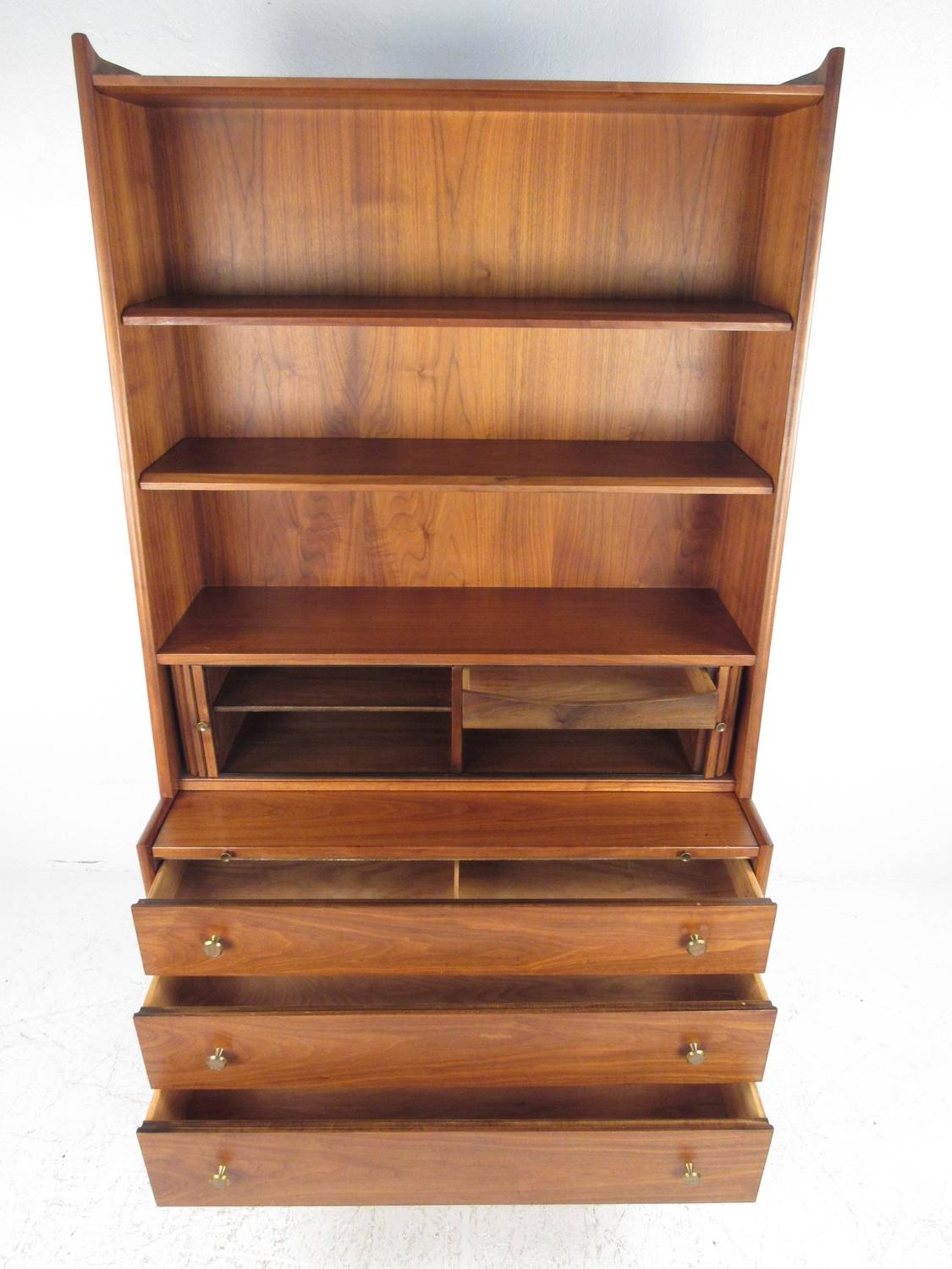 mid century modern bookcase with writing desk by kipp stewart for drexel for sale at 1stdibs. Black Bedroom Furniture Sets. Home Design Ideas