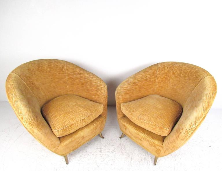 Mid-Century Modern Pair Italian Modern Club Chairs With Brass Legs For Sale