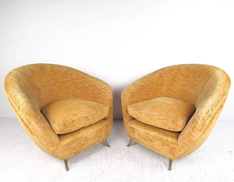 Pair Italian Modern Club Chairs With Brass Legs For Sale 2