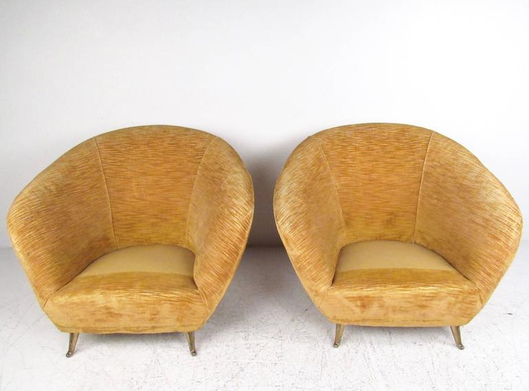 Pair Italian Modern Club Chairs With Brass Legs For Sale 3