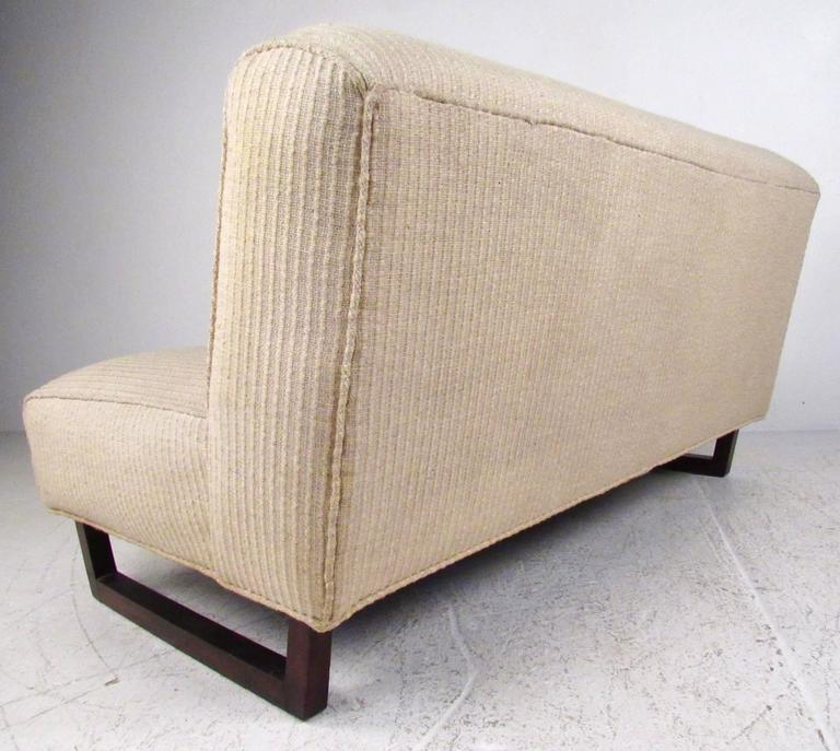 Upholstery Pair of Mid-Century Modern Sled Leg Slipper Sofas For Sale