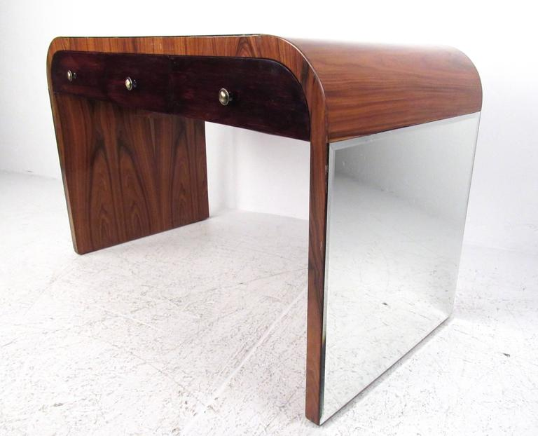 Mirror Italian Modern Writing Desk in Rosewood For Sale