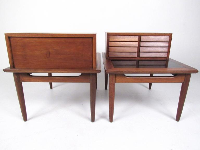 Mid-Century Modern Pair of Midcentury Storage End Tables by American of Martinsville For Sale