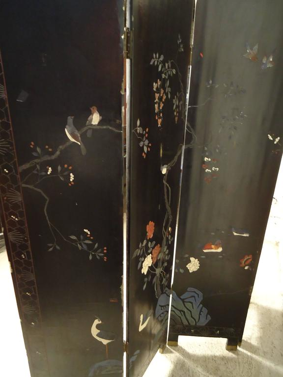 Decorative Double Sided Asian Screen / Divider In Good Condition For Sale In Brooklyn, NY