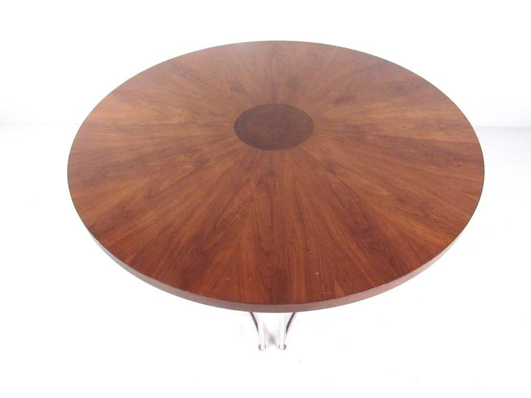American Mid-Century Modern Burl Wood Dining Table For Sale