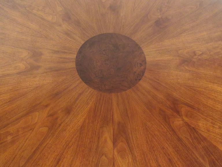 Mid-Century Modern Burl Wood Dining Table For Sale 1