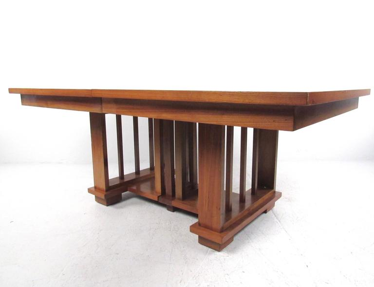 Impressive Vintage Modern Dining Table in the Style of Frank Lloyd Wright 3