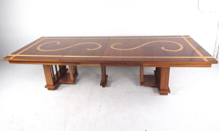 Impressive Vintage Modern Dining Table in the Style of Frank Lloyd Wright 4