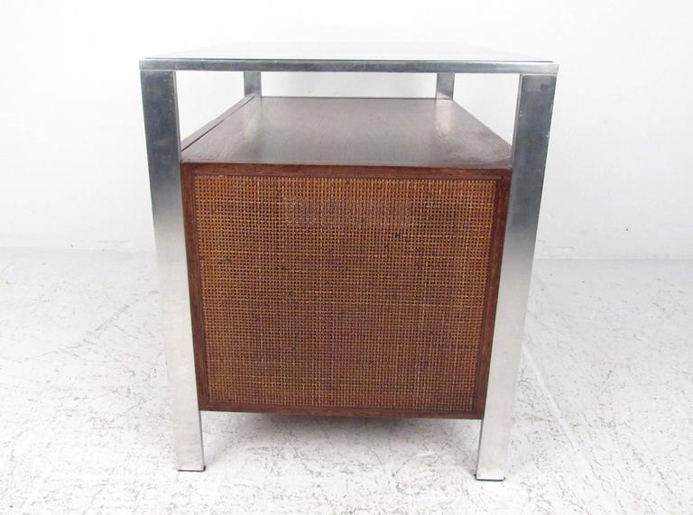 Mid-20th Century Mid-Century Modern Cane Front Storage Cabinet For Sale