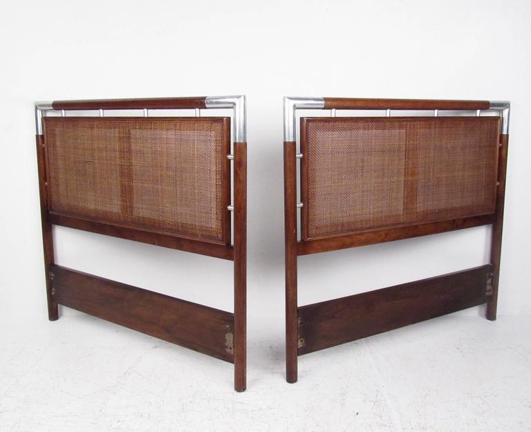 pair of mid century modern cane and chrome twin size headboards for sale at 1stdibs. Black Bedroom Furniture Sets. Home Design Ideas