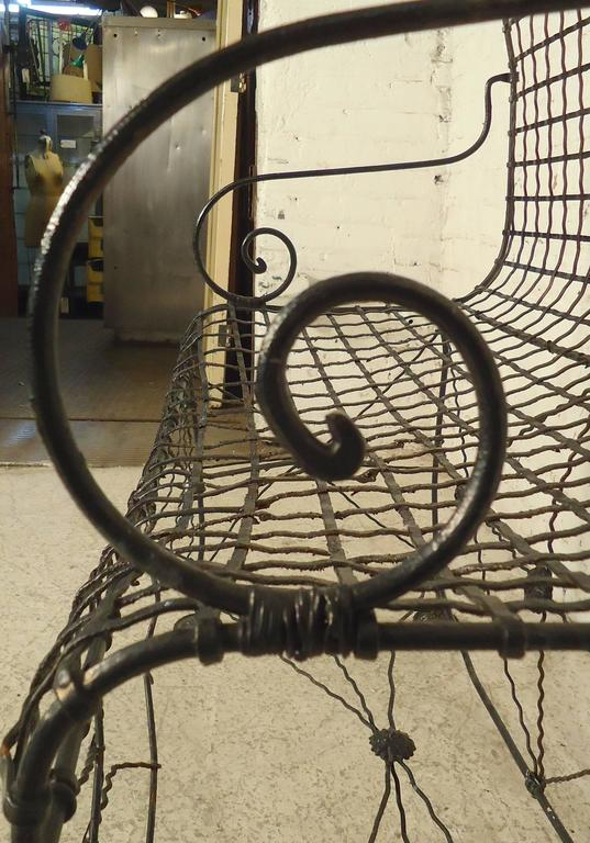 Decorative Wrought Iron Bench In Good Condition For Sale In Brooklyn, NY
