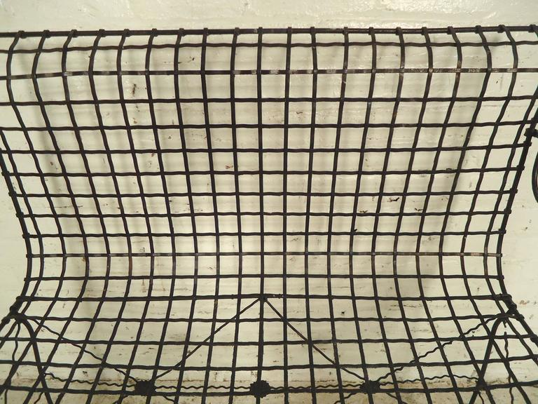 20th Century Decorative Wrought Iron Bench For Sale