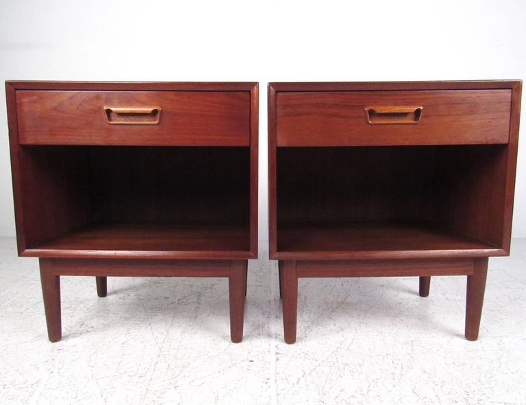 Pair of scandinavian modern teak nightstands for sale at 1stdibs for Danish teak bedroom furniture