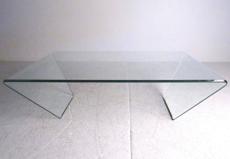 Contemporary Modern Curved Glass Coffee Table At 1stdibs