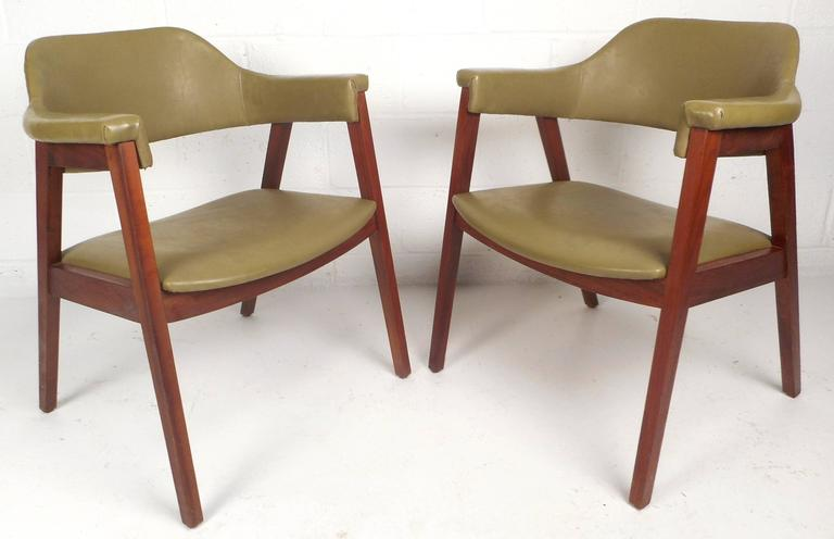 Stunning Pair Of Vintage Modern Chairs With Green Vinyl Upholstery Covering  The Seat And Backrest. American Mid Century ...