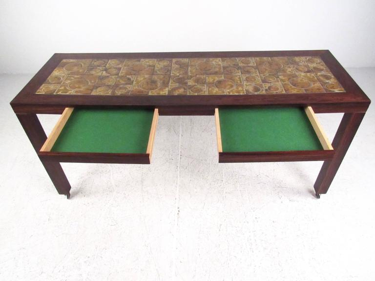 Danish Modern Rosewood Console Table With Tile Inlay For