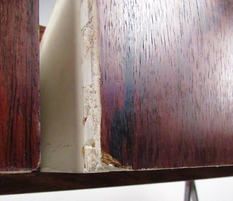 Danish Modern Rosewood and Chrome Campaign Desk For Sale 6