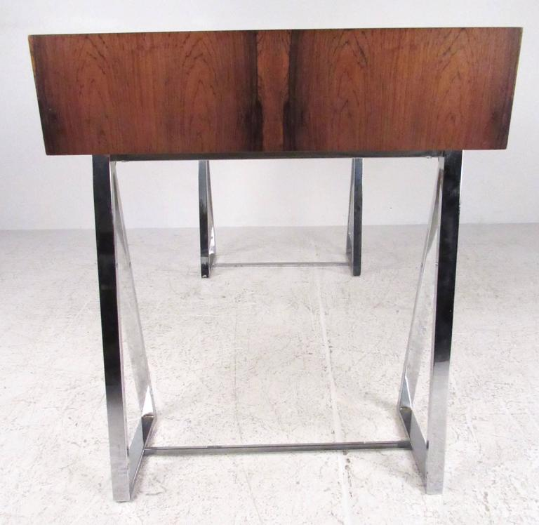 20th Century Danish Modern Rosewood and Chrome Campaign Desk For Sale