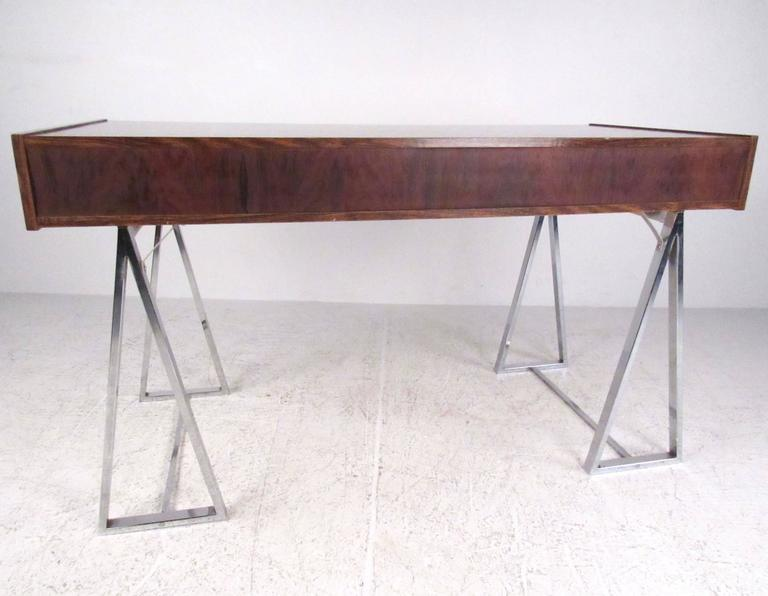 Danish Modern Rosewood and Chrome Campaign Desk In Good Condition For Sale In Brooklyn, NY