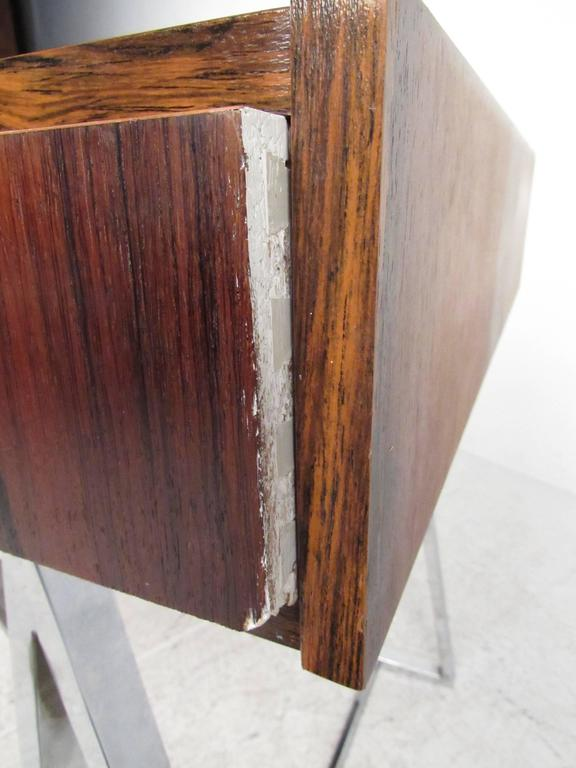 Danish Modern Rosewood and Chrome Campaign Desk For Sale 4