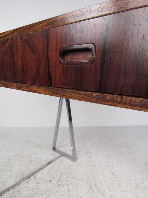 Danish Modern Rosewood and Chrome Campaign Desk 5