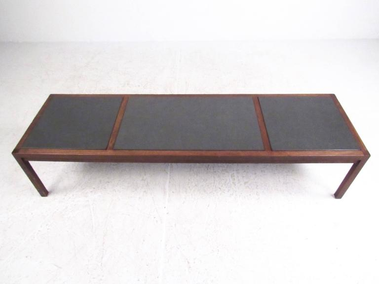 Mid Century Modern Slate Top Coffee Table For Sale At 1stdibs