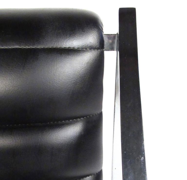 Italian Modern Chrome And Vinyl Lounge Chair With Ottoman