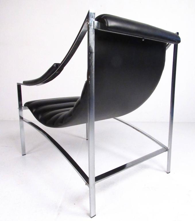 Mid Century Modern Italian Modern Chrome And Vinyl Lounge Chair With  Ottoman, Attr.
