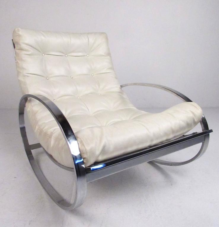 This Stylish Chrome And Vinyl Rocker By Renato Zevi For Selig Takes Some  Cues From The