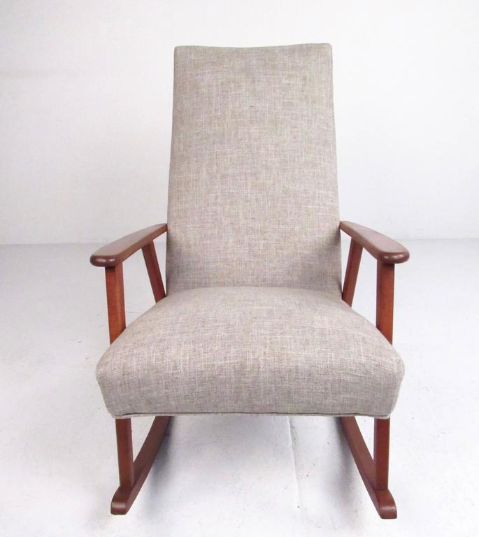 Mid-Century Modern Danish Teak Rocking Chair In Good Condition For Sale In Brooklyn, NY