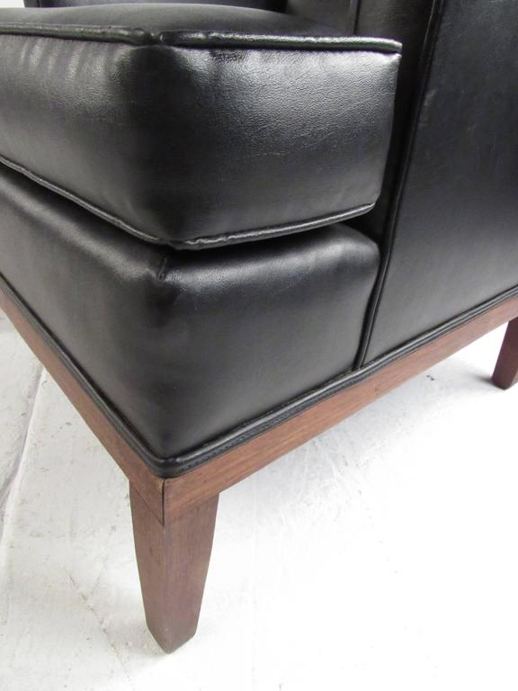 Faux Leather Mid-Century Modern Lounge Chair with Ottoman For Sale