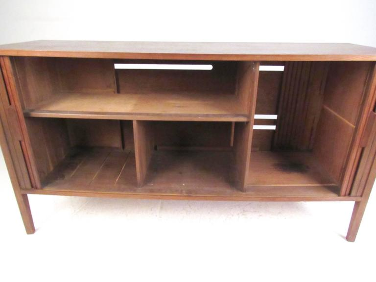 Late 20th Century Mid-Century Modern Tambour Credenza For Sale