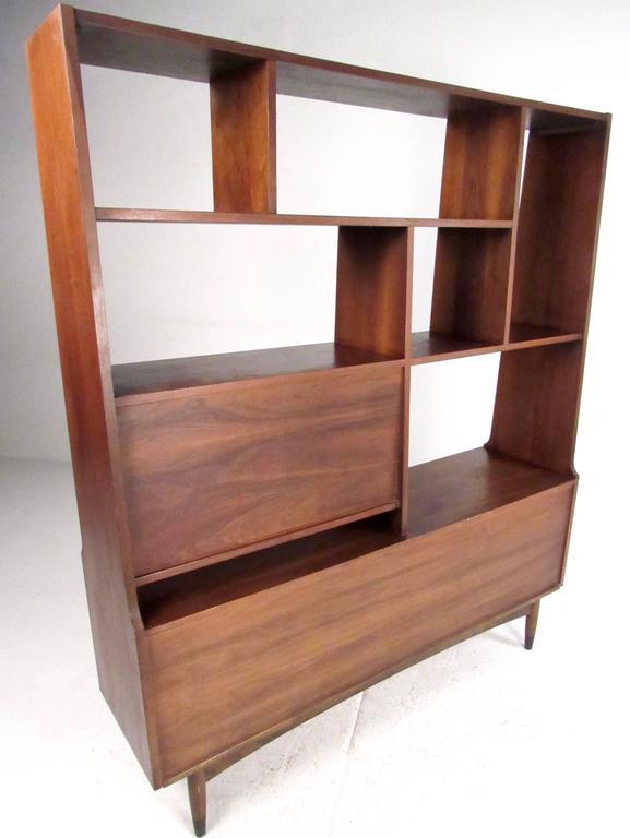 midcentury modern walnut bookshelf room divider 3
