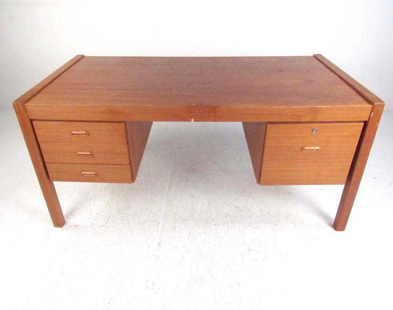 Danish Scandinavian Modern Teak Office Desk For Sale
