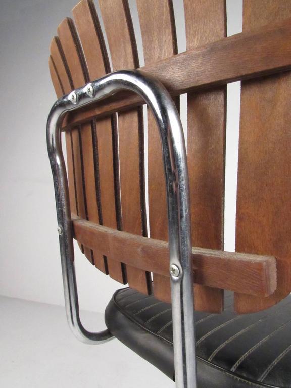 Pair Of Mid Century Modern Slat Back Swivel Bar Stools For