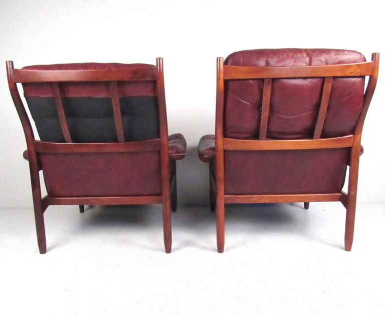Mid-20th Century Pair Danish Leather Lounge Chairs For Sale