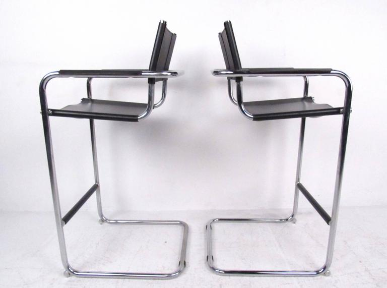 Pair Of Mid Century Chrome And Leather Cantilever Bar