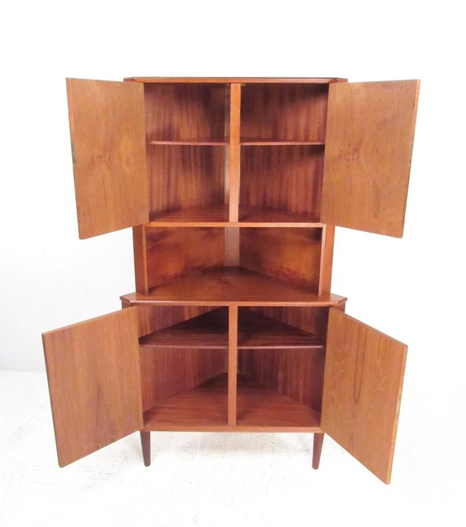Charmant This Unique Danish Teak Corner Cabinet Features Quality Scandinavian Modern  Construction, Dual Locking Cabinets And