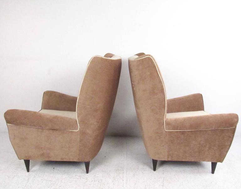 Mid-20th Century Pair of Modern Italian High Back Lounge Chairs For Sale