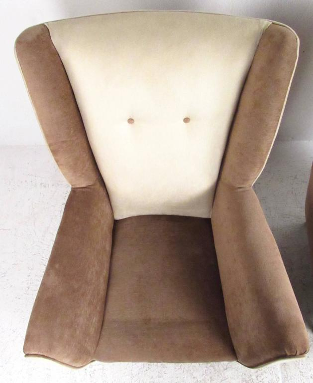 Pair of Modern Italian High Back Lounge Chairs For Sale 2