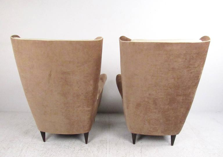 Pair of Modern Italian High Back Lounge Chairs For Sale 1